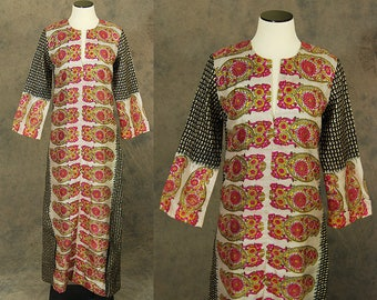 vintage 70s India Silk Caftan - Block Print Maxi Dress -1970s Boho Ethnic Hippie Festival Dress Indian Silk Dress Sz S