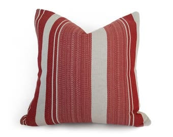 Red French Country Pillows, Red White Striped Pillow, Rustic Cream Red Pillows Covers, Beach House Pillow, Unique 12x18 Lumbar, 18, 20 NEW