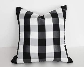 Black White Buffalo Plaid Pillows, Black White Check Pillow, Checked Pillow, Checkered Cushion, Eclectic Pillows, PillowThrowDecor 18x18 NEW