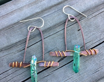 Green Crystal Soldered Copper Earrings + crystal Point AB Earrings + Patina Copper Earrings + summer jewelry