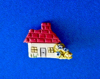 Tiny Cottage Vintage Hand Painted Pin Brooch Red Roof and Flowers