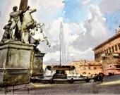 Reserved for Laura Artist Aldo Raimondi Vintage Fine Print Picture Roma Piazza del Quirinale Italy - La FONTANA DI DIOSCURI Water Color