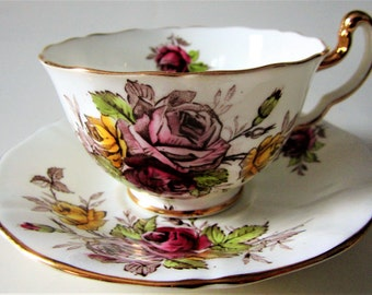 Vintage Fine Bone China Teacup and Saucer Adderley England Floral Rose Pink Purple Yellow Gold Trim Ornate Wedding Gift Rare Pattern