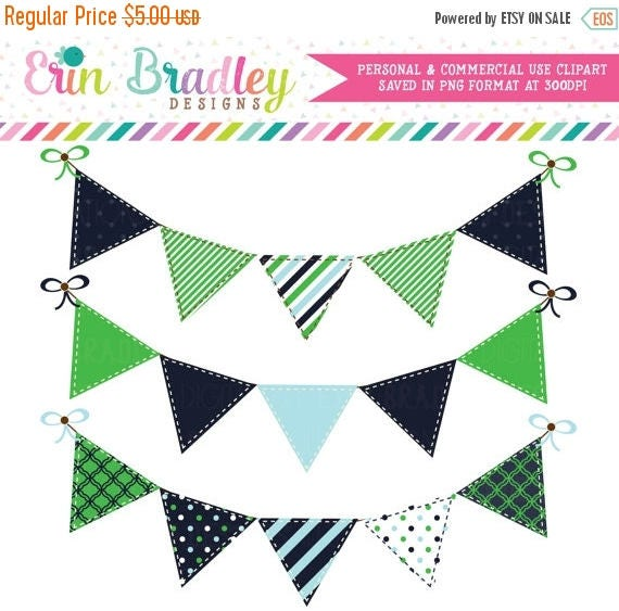 70% OFF SALE Digital Banners Clipart Preppy Blue Kelly Green Bunting Flags Commercial Use Clip Art Graphics
