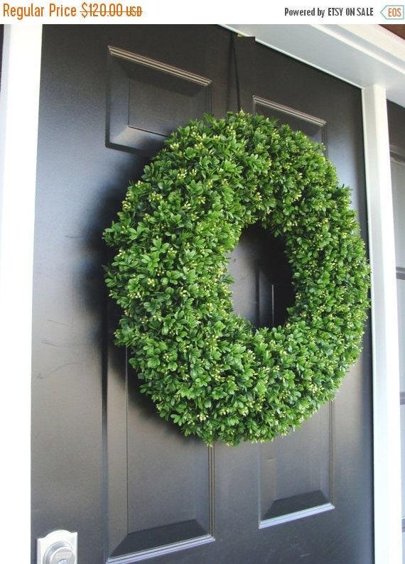 SPRING WREATH SALE Spring Wreath, Artificial Boxwood Wreath, Wedding Wreath, Wedding Accessories, Summer Wreath, Door Wreath, Greenery