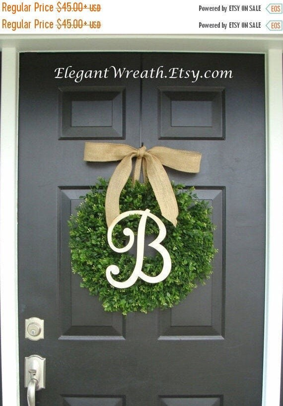 SPRING WREATH SALE Faux Boxwood Wreath, Monogram Wreath, Outdoor Door Wreath, Ready to Ship, Fall Wreaths, Year Round Wreath, Spring Wreath