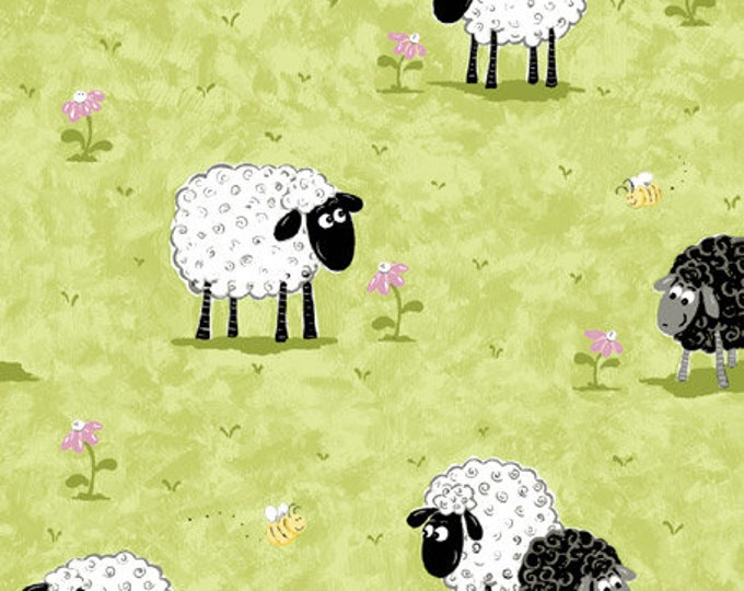 Lamb Fabric, Lal The Lamb Kiwi in the Meadow Children's  Cotton Fabric by Susybee