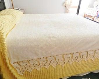 Ivory Crocheted Trim Bedspread, White Cotton Bedspread,  Crochet Trim Bedspread, Shabby Chic Bedspread