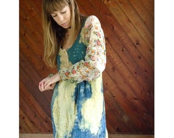 25% off Flash Sale . . . Crushed Velvet + Sheer Floral Chiffon Mini Babydoll Dress - Vintage 90s - S/M