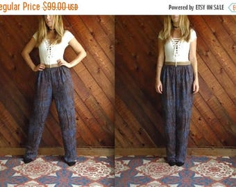 25% off Flash Sale . . . Vtg Marble Print High Waist Trouser Pants with Gold Band - 80s - S/M