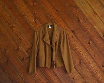 extra 30% off sale . . . Slinky Brown Slouchy Crop Blazer Jacket - Vintage 90s - S M