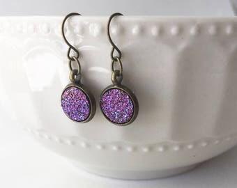Faux Druzy 10mm, Pink Druzy Drop Earring, Brass Druzy Earring, Metallic Earrings, Glitter Drop Earrings