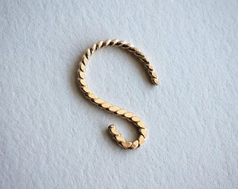 Made to Order, Simple Swirl Hammered Twist Septum Retainer Nose Ring Jewelry Gold Filled 18 Gage Gift Body Alternative