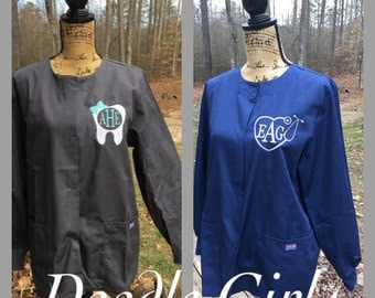 Monogrammed Lab Coat.  Monogrammed Lab Jacket.  Dental tooth OR nursing stethoscope. Product ID4350