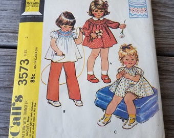 1973 Simplicity Pattern 3573 Toddler's Dress and Bloomers or Top and Pants Size 3 Uncut