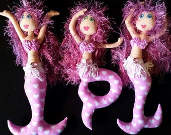 Bubbles - set of 3 mermaids - pretty in pink