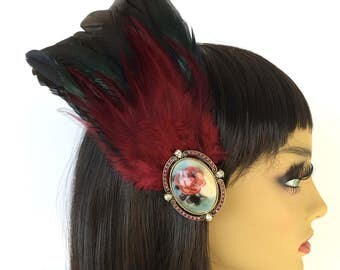 Red and Black Feather Fascinator, Floral Cameo, Dramatic Fascinator