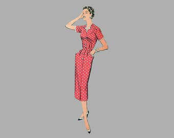 1950's Slim Dress Pattern, Advance 8133, Bust 37, Slim Line Dress, Notched neckline, Notched Pockets, Front button dress, Complete