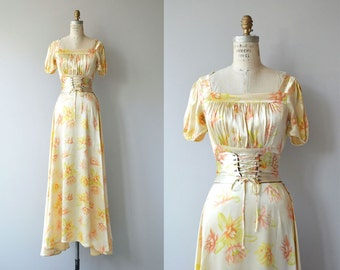 Luminaria silk gown | vintage 1930s dress | silk floral 30s gown