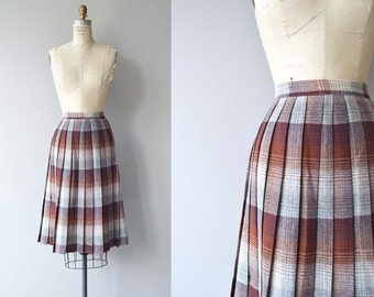 Cambridge skirt | vintage plaid skirt | pleated wool plaid skirt