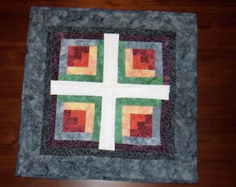Quilted Table Runner, Square Placemat, Log Cabin, Handmade, 23x23 Inches, Machine Quilted, Fabric Centerpiece