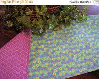 ON SALE Table Runner Padded Floral Print on Turquoise Reversible Lilac Print