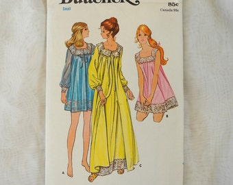 Vintage Butterick 5938, sewing pattern, 1970s Misses' nightgown and robe, 2 lengths, uncut,  size small