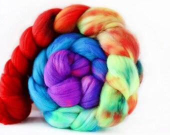 Rainbow Illusion 4 oz Merino softest 19.5 micron Roving Top for spinning