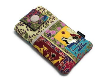 SALE & Ready to Ship - Japanese Kimono - Oriental Style, Crane Fabric Cell Phone Pouch for iPhone 6, 6s, iPhone 7