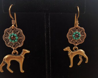 Greyhound  or Whippet Copper Earrings