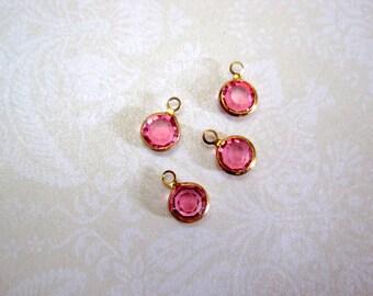 Swarovski Crystal Rose Gold Metal Bezel Charms - Set of 4 - 10x7mm