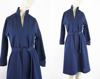 Minimalist Vintage Navy Blue Woman's 3/4 Cuff Sleeve Belted Tunic Day Dress