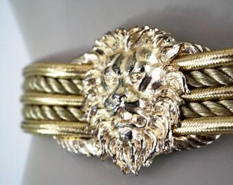 Barrera Lion Head Designer Vintage Gold Tone Vintage Belt
