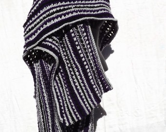 Ruana Wrap with Purple and Grey and  Black