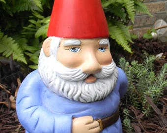 Garden GNOME SPIKED HAT Ceramic Handmade painted Lawn Knome Elf Fat Boy knome  Outdoor Garden Statue