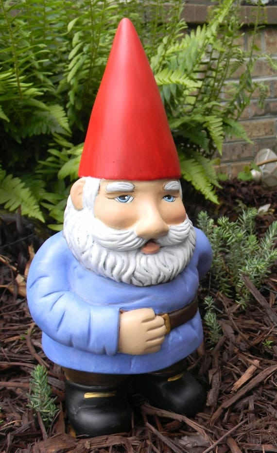 Garden Gnome Spiked Hat Ceramic Handmade Painted Lawn Knome