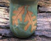 White Oak Leaf Mug / Coffee Mug / Tea Mug /  14 Ounce Mug / soft green glaze,coffee mug, tea mug,favorite mug