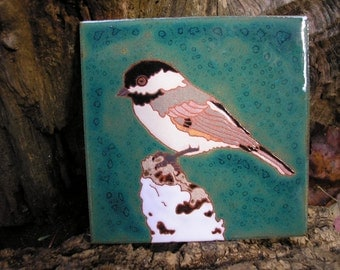 Chickadee  on Birch Arts and Crafts Style Tile, handcrafted tile, kitchen tile, fireplace surround tile