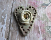 Sage Green Heart with Rosebud Pendant, Heart Pendant, Handcrafted Pendant, Art Bead, handmade ceramic pendant, handmade beads, tracee