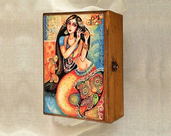 mermaid box, Indian woman art art box, Indian decor, Goddess art, feminine beauty, inspirational art, jewelry box, 7x10