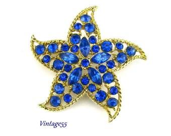 Blue Starfish Rhinestone Brooch
