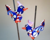 PATRIOT PAIR w/Pussy Hats: Paisley-winged Folk Art Chicks (2 beads total) -- Handmade Lampwork Glass Beads by Patti Cahill