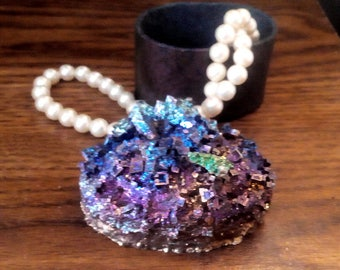 Bismuth Crystal JEWELRY BOX - Unique Crystal Covered Oval Container -  Irridescent Peacock Colors  m206