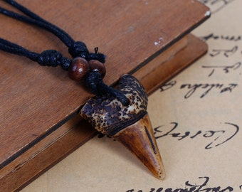 Resin Shark Tooth Necklace with Adjustable Black Wax Cord - Sold Individually - #MN145