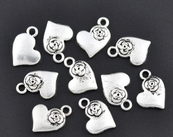 Heart with flower charm - Set of 15 - Antique Silver - #HK1219