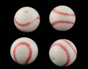 Baseball Bead - 20mm - Set of 5 - Acrylic -  #RB172