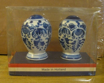 Vintage Holland Blue and White Salt and Pepper Shakers in Original Package