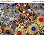 On sale Large Vintage Jewelry Destash 9+ lb. Lot, Repurpose, Crafts, Upcycle, Earrings, Necklaces, Brooches