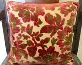 20offsale Vintage Tapestry Velvet Pink Green Accent Pillow
