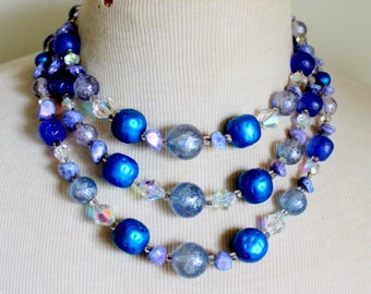 1950s Blue Multi Strand Necklace Crystal Statement Vintage